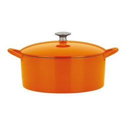 Mario Batali by Dansk Classic 6 qt. Dutch Oven - Persimmon - With its fiery persimmon orange enamel outside and hard-working cast iron inside, the Mario Batali by Dansk Classic 6 Sq. Dutch Oven in Persimmon will easily become your favorite kitchen essential. Use it to simmer chili on the stovetop or to make your famous pot roast in the oven. It has all the qualities you love about cast iron, but it doesn't need to be seasoned and it's dishwasher-friendly. Talk about modern convenience! You can use this Dutch oven on gas, electric, induction, or ceramic-top stoves.