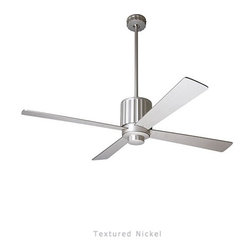 """Modern Fan - Pharos ceiling fan - The Pharos ceiling fan was designed by Ron Rezek for The Modern Fan Co. The larger-scaled Pharos fan pairs a powerful motor and advanced design principles to provide outstanding air distribution and useful light. The fan's primary feature, a series of rings (or louvers), gives it its deco styling and minimizes glare from the light source. The Pharos includes 2 standard down rods, 5"""", & 15"""",  yielding 14"""", & 24"""" overall length respectively. Accessory down-rods are available for longer overall lengths."""