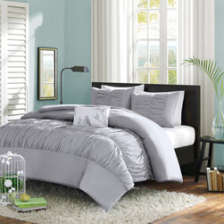 Mizone - Mizone Mirimar Duvet Cover Set - The Mirimar Duvet Cover Set creates an opulent look for your bedroom to update your current d̩cor. The ruched fabric on the comforter and shams give the appearance of scalloped edges and ruffles covering the bed. One solid white decorative pillow completes this set with an embroidered leaf and bird motif. Made from polyester peach skin fabric, the soft grey duvet cover and shams have a soft feel and are machine washable for easy care.�� Duvet/Sham: 100% polyester peach skin fabric, ruched, 100% polyester peach skin fabric reverse Pillow: polyester cover and polyester fill