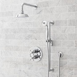 Gooseneck Thermostatic Hand-Held Shower Set, Chrome finish - Built to the highest industry standards, our Gooseneck Shower & Tub collection is crafted of solid-brass components and displays a graceful, elongated profile. Multiple finish options allow you to create a consistent look throughout. Gooseneck Pressure Balance Shower Set Constructed of cast brass. Set includes pressure balance valve, trim plate, handle, shower arm and showerhead. Professional installation required. Made in the USA. Gooseneck Pressure Balance Handheld Shower Set Constructed of cast brass. Set includes pressure balance valve, trim plate, handle, shower arm, showerhead, hand shower, hose, wall elbow and positioning bar. Professional installation required. Made in the USA. Gooseneck Pressure Balance Shower & Tub Set Constructed of cast brass. Set includes pressure balance valve, trim plate, handle, shower arm, showerhead and tub spout. Professional installation required. Made in the USA. Gooseneck Thermostatic Handheld Shower & Tub Set Constructed of cast brass. Set includes thermostatic valve, trim plate, two handles, shower arm, showerhead, hand shower, hose, wall elbow, positioning bar and tub spout. Professional installation required. Made in the USA. Gooseneck Thermostatic Handheld Shower Set Constructed of cast brass. Set includes thermostatic valve, trim plate, two handles, shower arm, showerhead, hand shower, hose, wall elbow and positioning bar. Professional installation required. Made in the USA. Gooseneck Thermostatic Shower & Tub Set Constructed of cast brass. Set includes thermostatic valve, trim plate, handle, shower arm, showerhead and tub spout. Professional installation required. Made in the USA. View our {{link path='pages/popups/fb-bath.html' class='popup' width='480' height='300'}}Furniture Brochure{{/link}}.