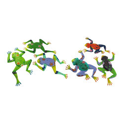 Zeckos - Set of 6 Whimsical Metal Tree Frog Wall Hangings - These metal tree frog wall hangings add a splash of color to your home, porch, or patio. Each measures approximately 14 3/4 inches long, 11 inches wide, and has a small triangle hanger on the back of the left foot. Each frog is painted in cheerful colors and is adorned with dots and flowers, giving them a whimsical quality. They are suitable for indoor/outdoor use, and they are sure to brighten your day.