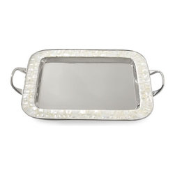 Mother of Pearl Large Rectangular Tray with Handles - This mother of pearl and stainless steel tray would make serving hors d'oeuvres and beverages tres chic.