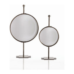"""Arteriors - Arteriors Home - Garbo Tabletop Adjustable Convex Mirror in - Arteriors Home - Garbo Tabletop Adjustable Convex Mirror in Antique Bronze - 6388 Features: Garbo Collection MirrorTabletop convex mirrorAntique bronze finish Iron constructionBlack metal standAdjustableModern / Contemporary Style Some Assembly Required. Dimensions: 8.5-12""""W X 18-22"""" H X 5""""D"""
