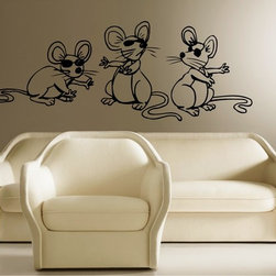 StickONmania - Three Blind Mice Sticker - A cool vinyl decal wall art decoration for your home  Decorate your home with original vinyl decals made to order in our shop located in the USA. We only use the best equipment and materials to guarantee the everlasting quality of each vinyl sticker. Our original wall art design stickers are easy to apply on most flat surfaces, including slightly textured walls, windows, mirrors, or any smooth surface. Some wall decals may come in multiple pieces due to the size of the design, different sizes of most of our vinyl stickers are available, please message us for a quote. Interior wall decor stickers come with a MATTE finish that is easier to remove from painted surfaces but Exterior stickers for cars,  bathrooms and refrigerators come with a stickier GLOSSY finish that can also be used for exterior purposes. We DO NOT recommend using glossy finish stickers on walls. All of our Vinyl wall decals are removable but not re-positionable, simply peel and stick, no glue or chemicals needed. Our decals always come with instructions and if you order from Houzz we will always add a small thank you gift.