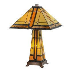 Meyda Tiffany - Meyda Tiffany 50805 Sierra Prairie Mission Tiffany Table Lamp - This reproduction piece featuring a matching shade and lit base combination makes a powerful statement. Fueled by strong lines and a deceivingly simple geometric design this art glass totem heavy with beige and honey tones is a wonderful conversation piece for any decor.