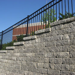 Midwest Block - Segmental Retaining Walls - VERSA-LOK Weathered Standard wall system in the Midwest Block Charcoal Color Blend; photo by David Mudd