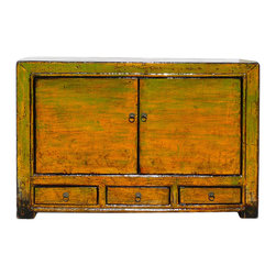 Golden Lotus - Chinese Rustic Yellow Green Lacquer Vanity Credenza Table - This is a traditional Chinese wooden cabinet restored with modern yellow green rustic lacquer.
