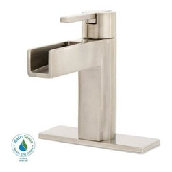 Pfister Vega 4-Inc Single-Handle Mid-Arc Bathroom Faucet, Brushed Nickel - The search for a new sink faucet has ended! It's a little pricier than I hoped, but it is a good match and definitely what I'm looking for.