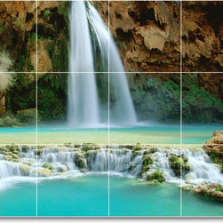 Picture-Tiles, LLC - Waterfalls Picture Bathroom Tile Mural W036 - * MURAL SIZE: 24x32 inch tile mural using (12) 8x8 ceramic tiles-satin finish.