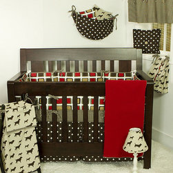 Cotton Tale Designs - Houndstooth 8 Piece Crib Bedding Set - A quality baby bedding set is essential in making your nursery warm and inviting. All N. Selby patterns are made using the finest quality materials and are uniquely designed to create an elegant and sophisticated nursery. Houndstooth 8 Pc Set includes 4 pc Crib Set(bumper, dust ruffle, crib sheet, coverlet), Diaper Stacker, Toy Bag, Valance, Pillow Pack. The 4 pc set is bright red, brown, tan and white in contemporary cotton duck with houndstooth trim. Bumper is in 4 sections, with ties top and bottom in houndstooth chocolate and natural. 250 thread count sheet in cotton houndstooth, tailored bed skirt in espresso dot. Coverlet in soft red matte lasse with minky lining. Wash gentle cycle, separate, cold water. Tumble dry low or hand dry. The Diaper Stacker is fun pup print in chocolate and natural with bright trim. Holds up to 6 dozen new born diapers. Wash gentle cycle, separate, cold water. Tumble dry low or hang dry.This toy bag is very practical in the nursery. They are bright and cheery and can be used on the wall for decoration. They can hold toys, and can be attached to the changer to hold supplies. Never attach toy bags to the crib. The Houndstooth straight valance measures 55 in.  x 16 in. . The valance is in the chocolate and natural houndstooth fabric and attaches to the decorative rod with bright contemporary ties. The Houndstooth Pillow Pack has 3 fun separate pillows. One in pup fabric, one in contemporary square, and one in espresso dot with large button. They come in a pack of 3 and can be used throughout the nursery, but never in the crib. The pillows measure 15 x15, 12 x 12 , and 10 x 10 inches. Spot clean only. Neutral bedding perfect for a boy or a girl.
