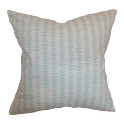 The Pillow Collection - Jiri Sky Blue 18 x 18 Geometric Throw Pillow - - Pillows have hidden zippers for easy removal and cleaning  - Reversible pillow with same fabric on both sides  - Comes standard with a 5/95 feather blend pillow insert  - All four sides have a clean knife-edge finish  - Pillow insert is 19 x 19 to ensure a tight and generous fit  - Cover and insert made in the USA  - Spot clean and Dry cleaning recommended  - Fill Material: 5/95 down feather blend The Pillow Collection - P18-D-21047-SKYBLUE-C100