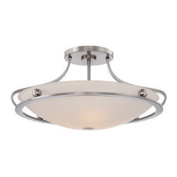 Quoizel - Quoizel UPWS1722 Uptown Wall Street 4 Light Semi-Flush Ceiling Fixture with Etch - Accent your home d�cor with this ideal 4 light semi-flush ceiling fixture featuring radiant etched glass with a pristine painted white inside.Features: