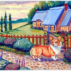 Caroline's Treasures - Pembroke Corgi at the Cottage Kitchen or Bath Mat 24x36 - Kitchen or Bath COMFORT FLOOR MAT This mat is 24 inch by 36 inch.  Comfort Mat / Carpet / Rug that is Made and Printed in the USA. A foam cushion is attached to the bottom of the mat for comfort when standing. The mat has been permenantly dyed for moderate traffic. Durable and fade resistant. The back of the mat is rubber backed to keep the mat from slipping on a smooth floor. Use pressure and water from garden hose or power washer to clean the mat.  Vacuuming only with the hard wood floor setting, as to not pull up the knap of the felt.   Avoid soap or cleaner that produces suds when cleaning.  It will be difficult to get the suds out of the mat.