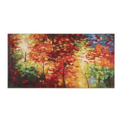Uttermost - Bright Foliage Canvas Art - Fall is bustin' out all over! Bring the colors of fall into your space with this large, vibrant oil painting. Hung over a console table in a dark entryway it will add the bit of brightness you need. No raking required.