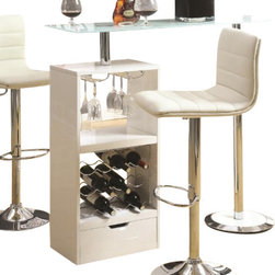 "Coaster - Bar Table (White) By Coaster - Add this versatile and modern piece to any room. A wine rack and stemware rack make it easy to store up to 12 bottles of wine. Also features a sturdy tempered frosted glass table top. Finished in white high gloss with a chrome base. Dims: 47.25"" X 15.75"" X 43.50"". Matching bar stools sold separately."