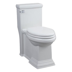 "American Standard - American Standard Town Square Flowise Elongated Toilet, White - American Standard 2847.128.020 Town Square Flowise Right Height Elongated One-Piece Toilet,  White. This elongated toilet features a 12"" Rough-in, a 16-1/2"" Right Height bowl with siphon action, a smooth-sided concealed trapway, an EverClean surface that inhibits the growth of bacteria, mold, and mildew, an oversized 3"" flush valve, a left-sided chrome trip lever, and a Duroplast slow-close seat and cover."
