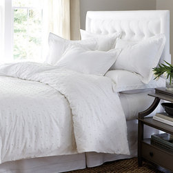 """Ballard Designs - Colette French Knot Duvet Cover - Soft 100% cotton percale. Monogramming available on sham. Our delicately textured Colette Bedding features hand finished French Knot embroidery for subtle texture. Duvet has all-over knot pattern and hidden button closure, Colette Shams feature a 2"""" knotted flange. Available in your choice of white or spa.Colette French Knot Bedding features:. . *Monogrammed sham available for an additional charge.*Allow 3 to 5 days for monogramming plus shipping time.*Please note that personalized items are non-returnable."""