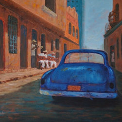"Original Tropical Landscape Painting - Havana Blues - Havana Blues is an original 24"" x30"" acrylic on gallery wrap canvas of a Caribbean street scene in Havana, Cuba. Artful architecture, lively music, and classic American cars characterize the old streets of Cuba. This scene sets the stage for casual street-goers and residents enjoying some live music on a steamy afternoon. It is painted around the edges to create a continuation of the image on all sides. It is signed by the artist and ready to hang."
