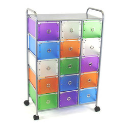 "4D Concepts - 4D Concepts 363025 15-Drawer Rolling Storage in Multi Color Drawers - Want the perfect storage unit? This 15 drawer rolling cart can add that needed storage to any room in the home. The 15 medium (Inside dim 8""w x 14 1/2""l x 6 7/8""h) multi colored foldable polypropylene drawers snap together with silver buttons and come with a silver railing around the top of the drawer. The silver colored finger pulls make it easy to pull the drawer in and out of the unit. The frame is made out of metal and is then powder coated to give it a very durable surface. The 15 drawers rest on a metal rail on the frame and come with a stop on the back side . The perforated metal top offers a sense of style to the top of the unit as well as additional storage. Rounding the top and having 2"" casters make this unit easy to move around the home. Clean with a dry non abrasive cloth. Assembly required."