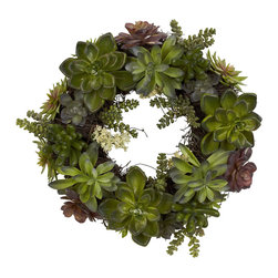 "Nearly Natural - 20"" Succulent Wreath - Stately, interesting, and a definite focal point - all without being overwhelming.... that perfectly describes this stunning succulent wreath. Just take a look at the different shapes and textures displayed here, all twisted together in a twisting, turning wreath that you will be proud to display year-round. Also makes an ideal gift for any nature-lover."
