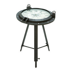 Benzara - Vintage Porthole Clock Themed End Table - A functional and clever end table that serves at a convenient time piece, as well as great decor for any type of home. The end table's clock features a unique porthole themed body, that makes up the full table. This unique piece will enjoy a long life of time keeping in the guest room or home office.