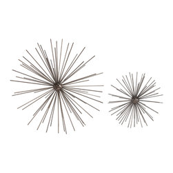 Kathy Kuo Home - Winnipeg Small Iron Modern Abstract Dandelion Sculpture - Thin silvery iron rods expand out from a central core to create a round sculpture that will captivate you and your guests. Place in a room with more traditional decor and immediately bring a modern, updated look to the space. The light, airy shape of the sculpture is reminiscent of a white dandelion in late summer, about to float off in the breeze - however, its iron construction means it's virtually indestructible.