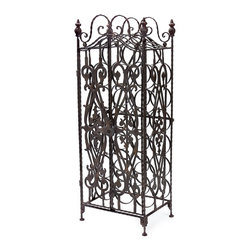 iMax - iMax Wine Cabinet X-6577 - This wine cabinet stores wine bottles on their sides to perfectly preserve your ports and everyday wine indulgences. Its metal frame work and door add a sense of Tuscan style to the piece.
