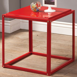 Coaster - Accent Table, Red - Whether you just need table space or you need a storage unit in your room, these colorful accent tables are ready to accommodate. These sleek and simply accent tables are available in five bold colors and can easily connect together to make stackable storage units. Create a combination that fits your needs and wants. Each cube table features a sturdy metal base and a slightly raised table top to securely hold each table together when stacking.