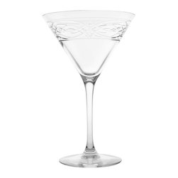 Rolf Glass - Charleston Martini 10oz, Set of 4 - Add an olive or an onion and you'll be all set serve your favorite Martinis in these classically shaped glasses. Inspired by the fretwork of Charleston cabinet maker, Thomas Elfe, in the 1700s, they'll lend a touch of romance to anything you pour. Cheers!