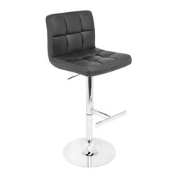 Lumisource - Lager Barstool w Padded Seat & Backrest (Blac - Finish: BlackSoft padded seat with backrest. 360 degree swivels. Adjustable height from 25 in. to 33 in.. Chrome pole and base support. Made from PU, chrome and foam. Assembly required. Weight Limit: 225 lbs. Seat height : 25 in. to 33 in.. 19.5 in. W x 18 in. D x 45 in. H (20 lbs.)Have a seat comfortably with the Lager bar stool. The padded seat combined with the high back makes this stool great for relaxing. Chrome pole and base support this bar stool while hydraulics allow for easy height adjustment.