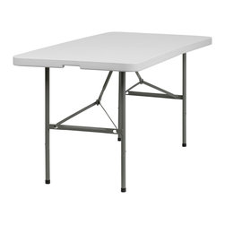 Flash Furniture - Flash Furniture 30''W x 60''L Plastic Bi-Fold Folding Table - This incredibly valued Folding Table is durable for commercial and home use. This multi-purpose table can be used in hotels, banquet rooms, training rooms and seminar settings. Setup this table in a SNAP, and then Store it Virtually Anywhere!
