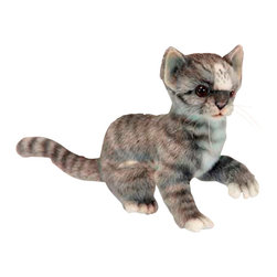 """Hansa Toys - Hansa Toys Grey and White Kitten - Hansa Gray and White Kitten 6493 is handcrafted from plush. Each animal's """"coat"""" is meticulously cut by hand, never stamped out by machine. Soft paws, swishing tails, and especially soulful eyes and faces are lovingly detailed to create the life-like look that is unmistakably Hansa. Ages 3 and up."""