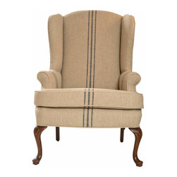 Classic Mid-Century Wing Chair - Well made and very comfortable Classic wing chair. Custom upholstered in French ticking. Nicely tailored, and fits nicely in any number of applications.