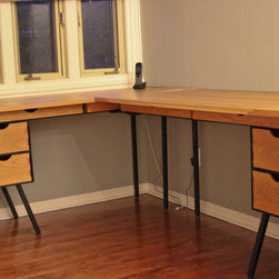 DANish Cherry Executive Desk - This gorgeous painted steel and cherry desk is the big brother to the childs desk.