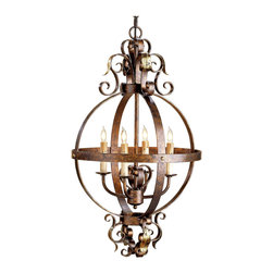 Kathy Kuo Home - Scrolled Wrought Iron Sphere 4 Light Chandelier - By crafting wrought iron bands into a sphere frame and adding flourishes of  scrolling on top and bottom, the combination of traditional style and artisan iron work make for a unique rustic wrought iron chandelier.