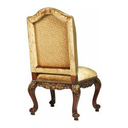 """Hooker Furniture - Beladora Upholstered Chair - Set of 2 - Side - White glove, in-home delivery included!  Enrich your surroundings with the grand European elegance of Beladora.  The collection is dramatic and graciously scaled with maple and olive ash burl veneers accented by distinctive walnut inlays.  Beladora pays homage to costly Old World antiques and showcases it's exceptional design with a refined caramel finish with subtle gold tipping to accent the carving, chiseling and marquetry work, all done by the hands of skilled craftsmen.  Fabric back and seat.  Arm Height: 25 1/4"""" h  Distance between arms - max: 25"""" w  Distance between arms - min: 20 1/2"""" w  Seat Cushion: 24"""" w x 23 1/2"""" d x 4"""" h  Seat Height: 21"""" h"""