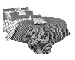 Dolce Mela - Black and White Check Luxury 100% Cotton Duvet Cover Set, Dolce Mela Bedding, Ki - Decorate with vogue and perk up your bedroom's decor with this amazing black and white bedding design.