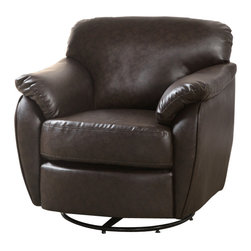 Monarch Specialties - Monarch Specialties 8065 Leather-Look Swivel Accent Chair in Dark Brown - Whether standing alone or used to accent a full living room ensemble, this chair will bring optimal comfort and exceptional style to your home. Designed with an overstuffed padded back, seat and arms that creates for a unique lounge chair shape, this accent chair has a sleek yet gentle contemporary style that will stand out in any room. Raised on polished chrome plated swivel base and draped in a dark brown leather-look upholstery, this chair's chic modern vibe is only further emphasized. Gentle to the eye and to the touch, this chair is stuffed with a generous amount of foam for soft support you will be just dying to sink into.