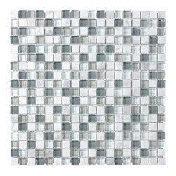 Bliss Iceland Stone and Glass Square Mosaic Tiles, 10 Square Feet - A cool mix of dark blue gray, white, and light gray glass squares combined with a nice bright white marble blend together in this popular 5/8 x 5/8 glass stone mosaic. This is a very popular tile with homeowners for use in a kitchen backsplash or accent strip for your bathroom. Also available in a random strip linear mosaic tile.