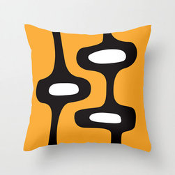 Mod Motel Pillow Cover in Orange - Perk up your space with this celebration of early sixties Mod style. An edgy combination of high-drama black on bold orange will have your living room Ready, Steady, Go!