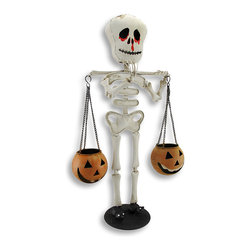 Zeckos - Skeleton Carrying Jack-O-Lanterns Votive Candle Holder 23 In. - No carving pumpkins necessary with this candle holder Let this puffy skeleton do all the work. The Jack-O-Lanterns he carries on a pole balanced upon his shoulder are ready for your votive or tea light candles, and he wears black glittery spider slippers He stands 23 3/4 inches tall, 13 1/2 inches wide and 7 inches deep. This is a fun way to add some Halloween light to your porch or entryway