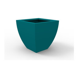 Decorpro - Large Monaco Planter, Teal - The Monaco Planter evolved from a variation on the standard square pots. Although designed as a large outdoor planter, these elegant planters also look great indoors. With clean curved lines these modern planters add an impressive statement as commercial  planters or in private residences.
