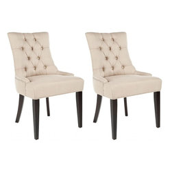 Safavieh - Cava Dining Chair (Set of 2) - It's a Deco darling. The Cava Dining Chair bring chic, modern style to the dining room. Their lush cotton-polyester blend upholstery in biscuit beige highlights its curvaceous figure while its sleek birch wood legs with espresso finish add just the right amount of Park Avenue style.