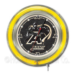 Holland Bar Stool - Holland Bar Stool Clk15USMilA US Military Academy (ARMY) Neon Clock - Clk15USMilA US Military Academy (ARMY) Neon Clock belongs to College Collection by Holland Bar Stool Our neon-accented Logo Clocks are the perfect way to show your school pride. Chrome casing and a team specific neon ring accent a custom printed clock face, lit up by an brilliant white, inner neon ring. Neon ring is easily turned on and off with a pull chain on the bottom of the clock, saving you the hassle of plugging it in and unplugging it. Accurate quartz movement is powered by a single, AA battery (not included). Whether purchasing as a gift for a recent grad, sports superfan, or for yourself, you can take satisfaction knowing you're buying a clock that is proudly made by the Holland Bar Stool Company, Holland, MI. Clock (1)