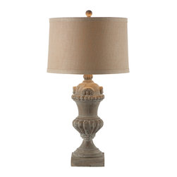 Kathy Kuo Home - Pair Brussels Large Carved Wood Urn French Country Table Lamp - Hand-crafted for your favorite side table, utilize this fabulous wooden lamp with its contrasting burlap shade. Perfect for an entry table or side board.