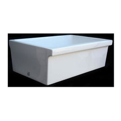 Whitehaus - 30 in. Quatro Alcove Reversible Fireclay Farm - Color: WhiteQuatro Alcove reversible fireclay sink. Decorative 2 1/2in. lip on one side and a 2in. lip on the other.. 3 1/2in. offset center drain. Sink is finished on all four sides. Sink tapers slightly on sides. Outer Dimensions: 29 3/8in. x 18 7/8in. x 10in.. Inside Dimensions: 27 1/4in. x 16 3/4in. x 9in.