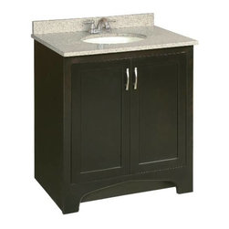 PREMIER - Premier 106723 Sonoma RTA Vanity, 30-Inch, Espresso Finish - # Ready-to-assemble Cam-lock connectors for fast and easy assembly Solid wood door frames and drawer fronts Full extension ball bearing drawer glides Satin nickel hardware vanity; 30 inch; espresso; ready to assemble