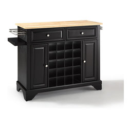 Crosley Furniture - Crosley Furniture Lafayette Natural Wood Top Wine Island in Black - Wine lovers will entertain in style with Crosley's Kitchen Wine Cart.  Whether you're a connoisseur of fine wines or simply a casual fan, Crosley's Kitchen Wine Cart offers the utmost in entertaining convenience.  The cabinet features a 20-bottle wine rack and side-mounted 3-bottle wine valet and the top provides ample surface space for presentation of your wine and cheese alike. Raised panel doors conceal the adjustable inner shelving and two sliding drawers provide several options for storage. Wine cabinets come in one of four signature Crosley finishes featuring one of four surfaces - including wood, stainless steel or solid granite.