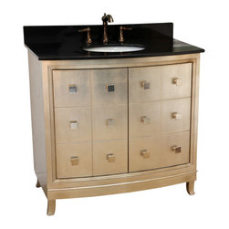 "Bellaterra - 36"" Single Sink Vanity Wood Bronze Silver, Bronze Silver, 36 in - Solid wood construction and features unique square knobs on slightly bowed front to create the unique look. The cabinet finished in this exciting bronze silvery finish, gives the luxurious look to any bathroom. Two function drawers installed with full extension drawer glides for full access to the drawers. Top with genuine black galaxy granite and cUPC white ceramic sink. Birch + plywood * Bronze silver * UPC white sink * Wood with matching silver finish wood. * Faucet, soap dish, and picture frame are not included. Dimensions: 36 in. x 22 in."