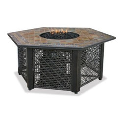 UniFlame 55-in. LP Gas Outdoor Firebowl with Slate Tile Mantel - Heating and seating a crowd? The UniFlame 55-in. LP Gas Outdoor Firebowl with Decorative Tile Mantel features an expansive hexagonal shape that perfect for gathering 'round and sparking conversation. This hexagonal fire table has a weather-resistant slate tile tabletop on an elegant wire-grid steel base that hides its fiery belly. Open the access door and slide out the 20 lb. LP tank with it's convenient tank drawer. It puts out up to 30 000 BTUs through a stainless steel burner in the bottom of the firebowl covered with elegant fire glass for a look that's sure to spark a conversation or two. Comes with a LP tank cover and fire pit cover. About Blue Rhino/Uniflame/Endless Summer: Blue Rhino Global Sourcing Inc. is America's #1 propane tank exchange brand but it doesn't stop there. Blue Rhino is a leading designer and marketer of outdoor appliances and fireplace furnishings. These products include barbecue grills outdoor heaters outdoor fireplaces mosquito traps and fireplace furnishings. You'll find a Blue Rhino product in the middle of half a billion barbecue events nationwide every year. They come under various brand names including UniFlame Endless Summer and SkeeterVac.